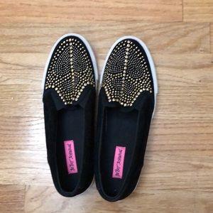 Betsey Johnson Slip-on Sneakers, Black Studs